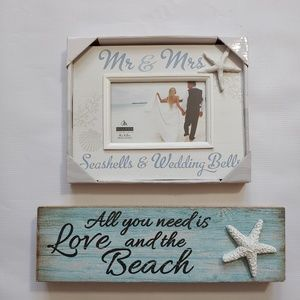 Beach Wedding Gift Set Frame and Tabletop Sign